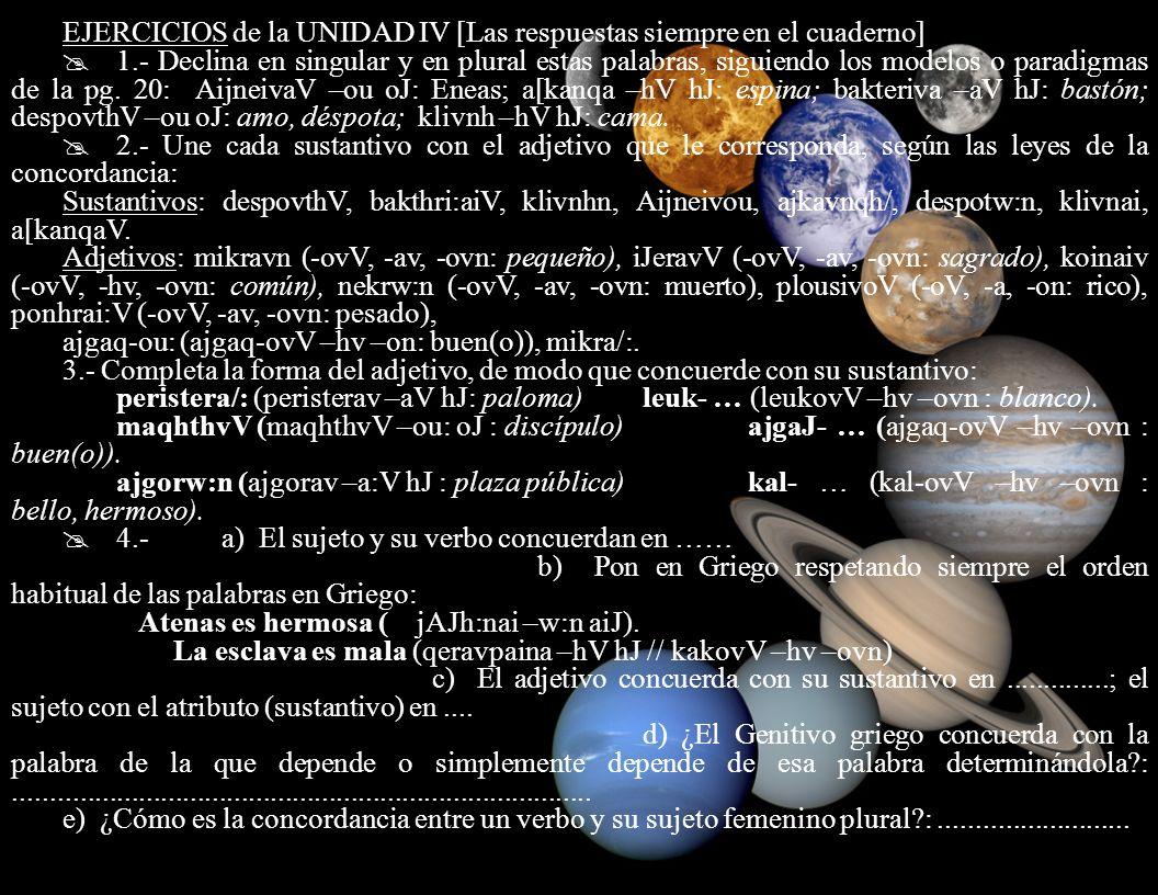 EJERCICIOS de la UNIDAD IV [Las respuestas siempre en el cuaderno]